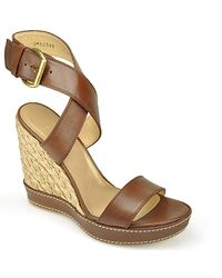 Stuart Weitzman - Brown Xray - Root Leather Wedge Espadrille - Lyst