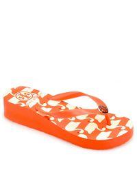Tory Burch | Wedge Flip Flop - Orange Wedge Rubber Thong Sandal | Lyst