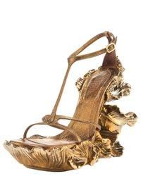 Alexander McQueen | Metallic Floral-wedge T-strap Sandal | Lyst