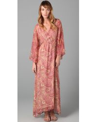 Alice + Olivia | Brown Hayley Long Kimono Dress | Lyst
