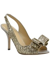Kate Spade | Metallic Charm - Gold Glitter Peep Toe Pump | Lyst
