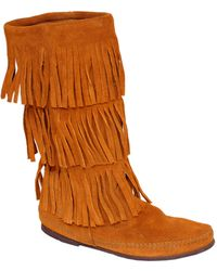 Minnetonka | Brown 3 Layer Fringe Boots | Lyst