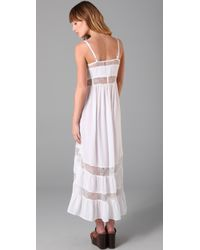 Shakuhachi - White Lace Tiered Long Dress - Lyst