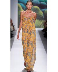 Tibi | Yellow Paisley Chiffon Long Dress | Lyst