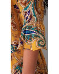 Tibi - Yellow Paisley Drop Waist Dress - Lyst