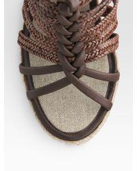 Elie Tahari - Brown Strappy Espadrille Wedge Sandals - Lyst