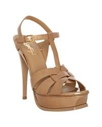 Saint Laurent | Brown Nude Patent Tribute 105 Platform Sandals | Lyst