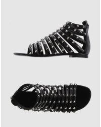 Giuseppe Zanotti | Black Studded Flat Sandals | Lyst