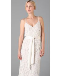 Halston | White Spaghetti Strap Long Dress | Lyst