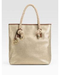 MICHAEL Michael Kors | Metallic Marina North/south Canvas Tote | Lyst