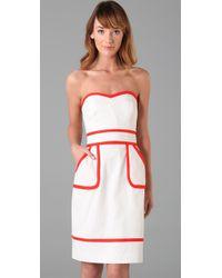 MILLY | White Kerri Strapless Dress | Lyst