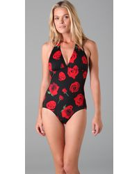 Pret-a-surf - Black Roses One Piece - Lyst