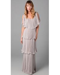 Rebecca Taylor | Gray Micro Pleat Gown | Lyst