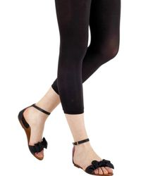 RED Valentino - Black Leather Bow Ankle Strap Flats - Lyst