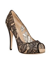 Valentino | Black Floral Mesh Peep Toe Pumps | Lyst