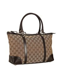 Gucci | Brown Beige Gg Canvas Lovely Heart Charm Tote | Lyst