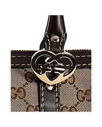 Gucci - Brown Beige Gg Canvas Lovely Heart Charm Tote - Lyst