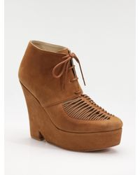 Opening Ceremony | Brown Suede Lace-up Wedge Ankle Boots | Lyst