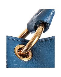 Prada - Blue Cobalt Leather Vitello Daino Logo Stamped Hobo - Lyst