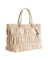 Prada | Natural Ivory Lambskin Gaufre Shirred Tote Bag | Lyst