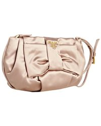 Prada | Natural Nude Satin Pleated Bow Wristlet | Lyst