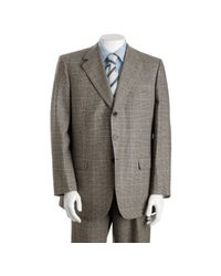 Brioni | Gray Light Grey Windowpane Check Wool 3-button Traiano Suit with Single Pleat Trousers for Men | Lyst