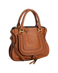 Chloé | Brown Tan Calfskin Marcie Crossbody Bag | Lyst