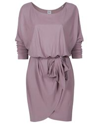 Halston | Purple Off Shoulder Sash Dress | Lyst