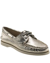 Sperry Top-Sider | Brown Montauk - Platinum Metallic Leather Boat Shoe | Lyst