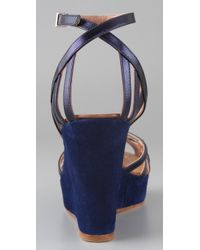 Sigerson Morrison | Blue Birdcage Wedge Sandals | Lyst