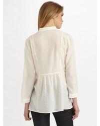 Theory - White Aldys Cotton-silk Shirt - Lyst