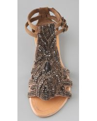 Antik Batik - Brown Kiss Beaded Flat Sandals - Lyst