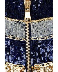 Balmain - Blue Pleated Satin-jersey Dress - Lyst