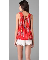 Free People - Red Hibiscus Floral Top - Lyst