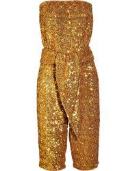 Halston | Metallic Sequin-embellished Strapless Jumpsuit | Lyst