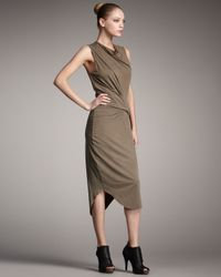 Helmut Lang - Gray Cowl Neck Drape Dress - Lyst