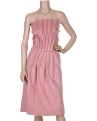 Marni | Pink Strapless Pleated Bouclé Dress | Lyst