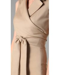 Ports 1961 - Natural Sheath Dress with Wrap Overlay - Lyst