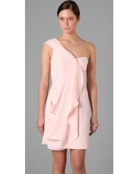 Shoshanna - Pink One-shoulder Draped Crepe Dress - Lyst