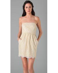 Shoshanna - White Strapless Lace Dress - Lyst