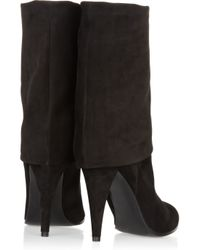 Sigerson Morrison | Black Suede Fold Over Boots | Lyst