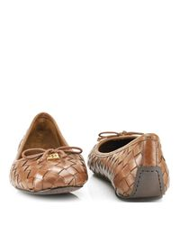 Tory Burch - Brown Prescot - Almond Leather Woven Ballet Flat - Lyst