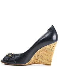Tory Burch - Blue Carnell - Navy Leather Cork Peep Toe Wedge - Lyst