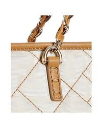 Fendi - White Ivory and Red Zucca Canvas Quilted Roll Chain Link Tote - Lyst