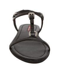 Prada - Sport Black Patent Leather T Strap Flat Sandals - Lyst