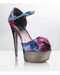 Carvela Kurt Geiger | Blue Girl Floral Peeptoe Platform | Lyst