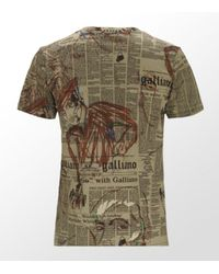 John Galliano | Blue Gazette Print T-shirt for Men | Lyst