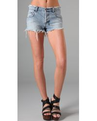 Ksubi | Blue Mid-rise Raw-edged Rigid-denim Shorts | Lyst
