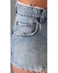 Ksubi - Blue Mid-rise Raw-edged Rigid-denim Shorts - Lyst