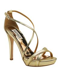 Badgley Mischka | Fierce - Gold Metallic Leather Sandal | Lyst